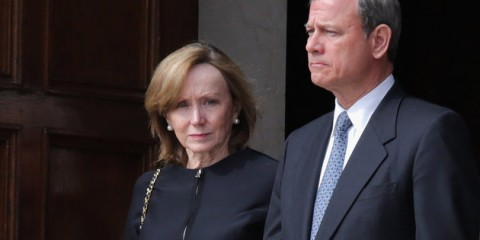 WASHINGTON, DC - FEBRUARY 20:  U.S. Supreme Court Chief Justice John Roberts (R) and his wife Jane Roberts leave the Basilica of the National Shrine of the Immaculate Conception following the funeral of Associate Justice Antonin Scalia February 20, 2016 in Washington, DC. Scalia, who died February 13 while on a hunting trip in Texas, layed in repose in the Great Hall of the Supreme Court on Friday.  (Photo by Chip Somodevilla/Getty Images)