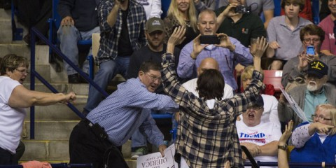 UNITED STATES - MARCH 9 - A protestor is thrown out as Republican presidential candidate Donald Trump speaks at a campaign rally at the Crown Center Coliseum in Fayetteville, N.C, Wednesday, March 9, 2016. (Photo By Al Drago/CQ Roll Call)