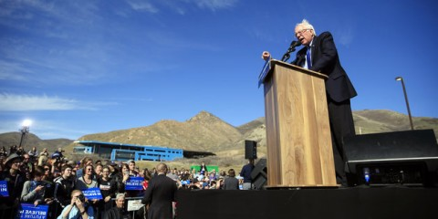 Democratic presidential candidate Sen. Bernie Sanders, I-Vt., speaks at a campaign rally Friday, March 18, 2016, in Salt Lake City. (AP Photo/John Locher)