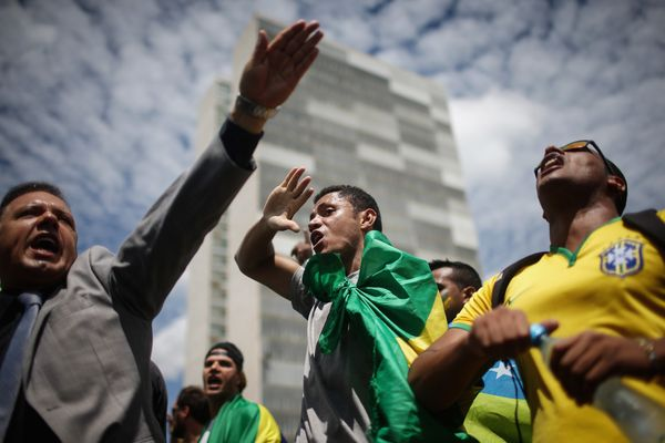 Protesters in Brasilia.