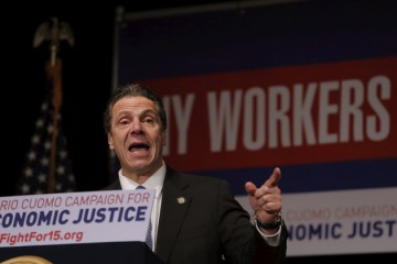 New York Governor Andrew Cuomo speaks at a union rally for higher minimum wages in New York January 4, 2016. REUTERS/Lucas Jackson