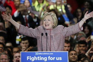 Democratic presidential candidate Hillary Clinton greets supporters after winning the New York state primary election, Tuesday, April 19, 2016, in New York. (AP Photo/Kathy Willens)