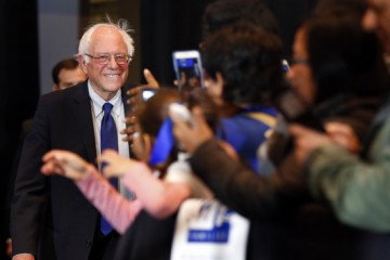 Democratic presidential candidate Sen. Bernie Sanders, I-Vt., arrives for  a campaign event, Monday, April 4, 2016, in Milwaukee, Wis. (AP Photo/Paul Sancya)