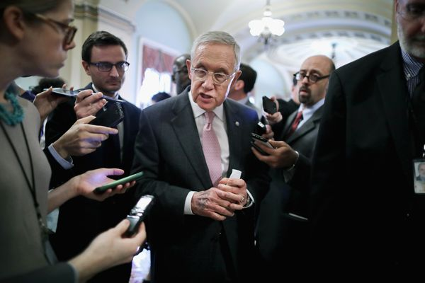 Reid talks to reporters about the convention mishegas.