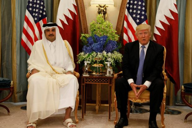 Qatar's Emir Sheikh Tamim Bin Hamad Al-Thani meets with U.S. President Donald Trump in Riyadh, Saudi Arabia, May 21, 2017. REUTERS/Jonathan Ernst